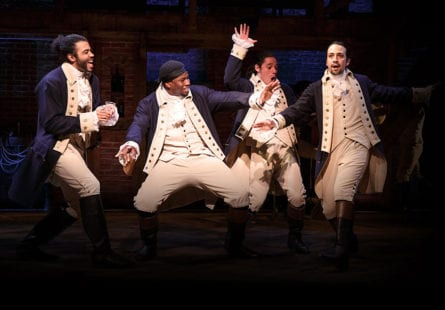 "(L-R) Tony-nominated Daveed Diggs, Okieriete Onaodowan, Anthony Ramos and Lin-Manuel Miranda act in a scene from the musical ""Hamilton."" (Joan Marcus)"