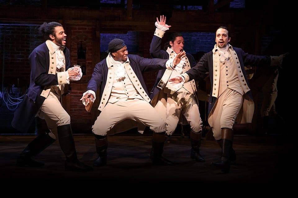 "(L-R) Tony-nominated Daveed Diggs, Okieriete Onaodowan, Anthony Ramos and Lin-Manuel Miranda act in a scene from the musical ""Hamilton."" (Joan Marcus)"