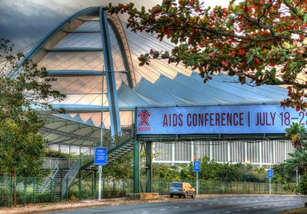21st International AIDS Conference (AIDS 2016), Durban, South Africa. Sunrise Branding Images against Moses Mabhida Stadium Photo©International AIDS Society/Abhi Indrarajan