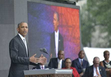 President Barack Obama speaks during the grand opening ceremony of the National Museum of African American History and Culture (NMAAHC) in Washington, D.C. The NMAAHC is the first Smithsonian museum focused on Black History on the National Mall. (Freddie Allen/AMG/NNPA)