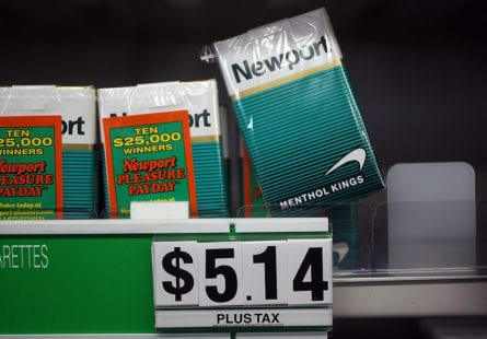 MIAMI - MARCH 30:  Menthol cigarettes are seen for sale on a shelf at a Quick Stop store on March 30, 2010 in Miami, Florida.  Today in Washington, DC a public hearing began before a committee of outside experts that advises the Food and Drug Administration as they weigh the evidence of menthol's impact on smokers' use and health. The FDA could eventually ban or phase out the menthol cigarettes that some experts say can be more enticing and possibly addicting than regular cigarettes.  (Photo by Joe Raedle/Getty Images)
