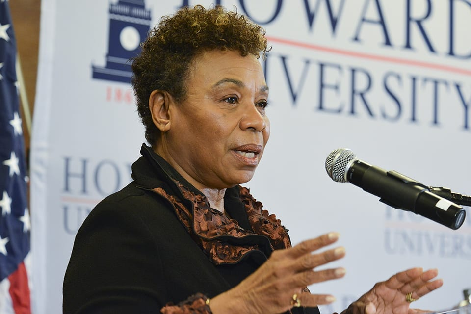 Lauren Victoria Burke says that Reps. Barbara Lee (D-Calif.) (pictured), Marcia Fudge (D-OH), Joyce Beatty (D-OH), Alma Adams and or Rep-Elect Val Demings (D-Fla.) should be given the opportunity to serve in leadership roles in the Democratic Party. This photo was taken during a panel discussion on the federal budget sequester at Howard University in 2015. (Freddie Allen/AMG/NNPA)