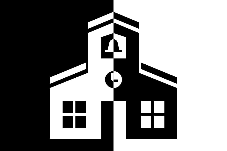 An illustration of a black and white school house.